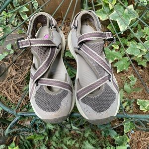Teva purple and grey sandals. 8